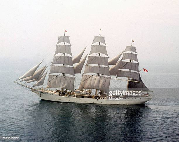 Plymouth to Lisbon Tall Ships Race The 790 ton top sail schooner Danmark seen here off the Devon coast May 1964