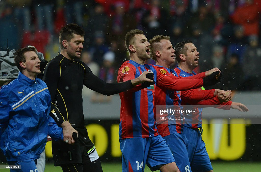 Plzen's players celebrate after the UEFA Europa League Round of 32 football match FC Viktoria Plzen vs SSC Napoli in Plzen, Czech Republic on February 21, 2013. Plzen won the match 2-0.