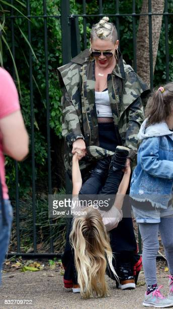 Pnk and Willow Sage Hart arrive in London ahead of headlining V Festival at Hyde Park on August 14 2017 in London England