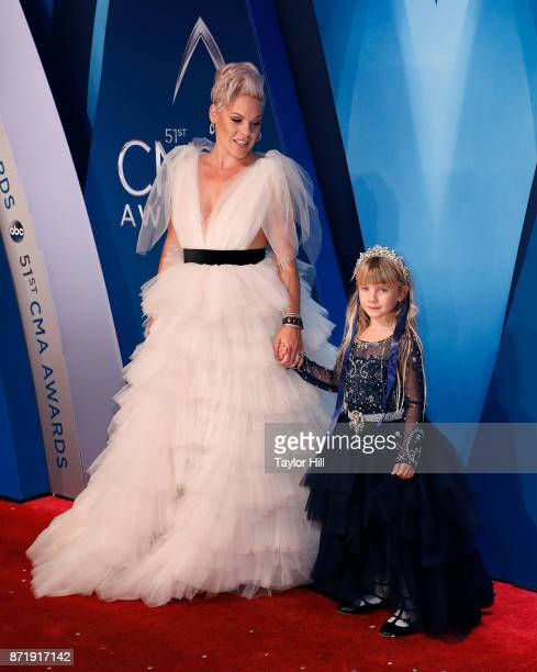 Pnk and Willow Sage Hart attend the 51st annual CMA Awards at the Bridgestone Arena on November 8 2017 in Nashville Tennessee