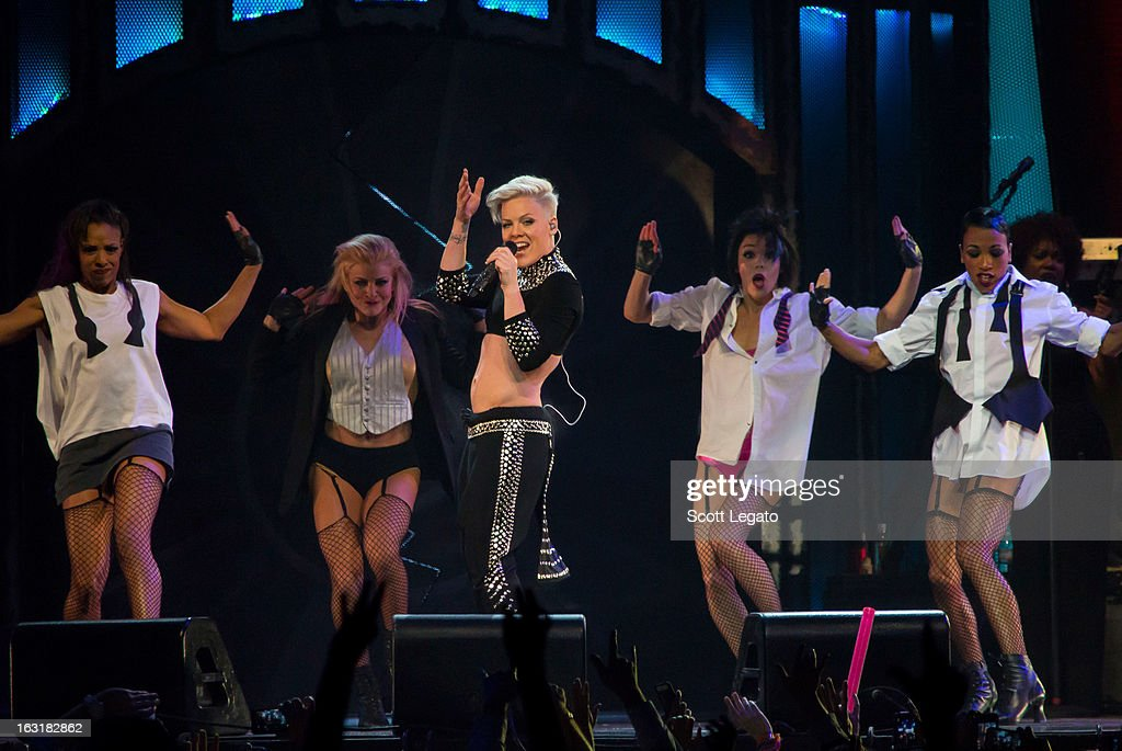 P!nk performs at The Palace of Auburn Hills on March 5, 2013 in Auburn Hills, Michigan.
