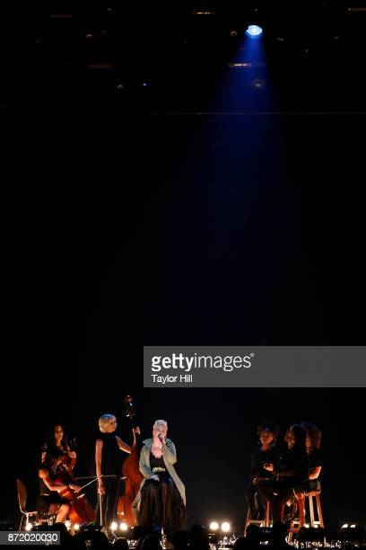 Pnk performs during the 51st annual CMA Awards at the Bridgestone Arena on November 8 2017 in Nashville Tennessee