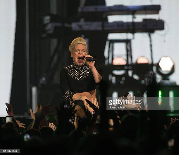 Pnk performs in concert during 'The Truth About Love' tour at Bankers Life Fieldhouse on November 21 2013 in Indianapolis Indiana