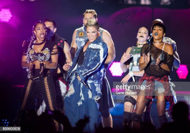 Pnk performs live on stage during V Festival 2017 at Hylands Park on August 19 2017 in Chelmsford England