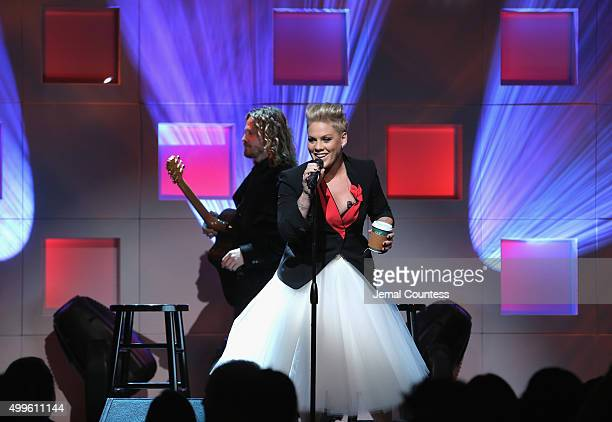 Pnk performs on stage at the 11th Annual UNICEF Snowflake Ball Honoring Orlando Bloom Mindy Grossman And Edward G Lloyd at Cipriani Wall Street on...