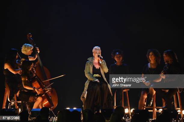 Pnk performs onstage at the 51st annual CMA Awards at the Bridgestone Arena on November 8 2017 in Nashville Tennessee