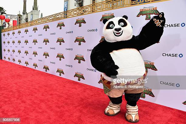 Po attends the premiere of DreamWorks Animation and Twentieth Century Fox's 'Kung Fu Panda 3' at TCL Chinese Theatre on January 16 2016 in Hollywood...