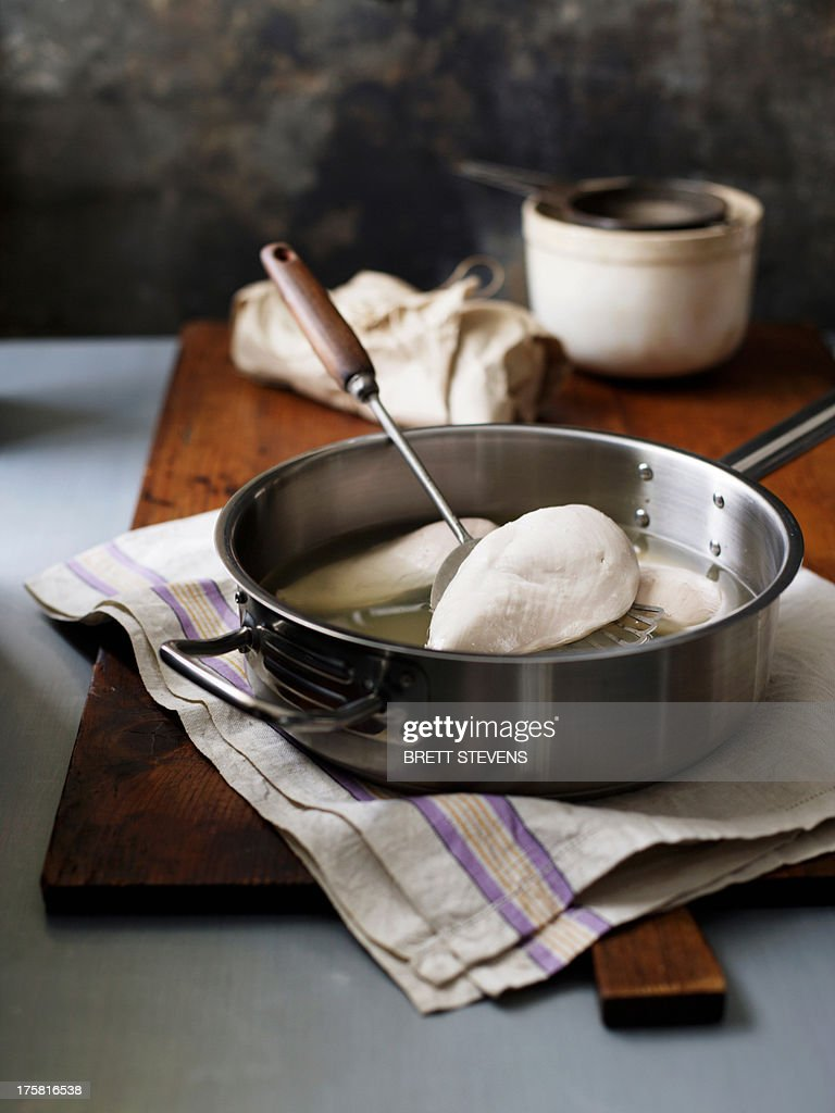 Poached chicken breast : Stock Photo