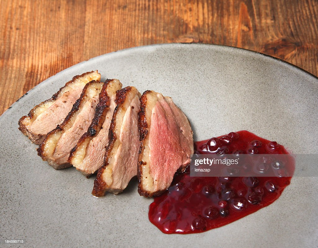 Poached Duck Breast With Lingon Jellyberry Stock Photo ...