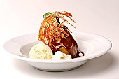 Poached Pear With Chocolate and Vanilla Ice Cream