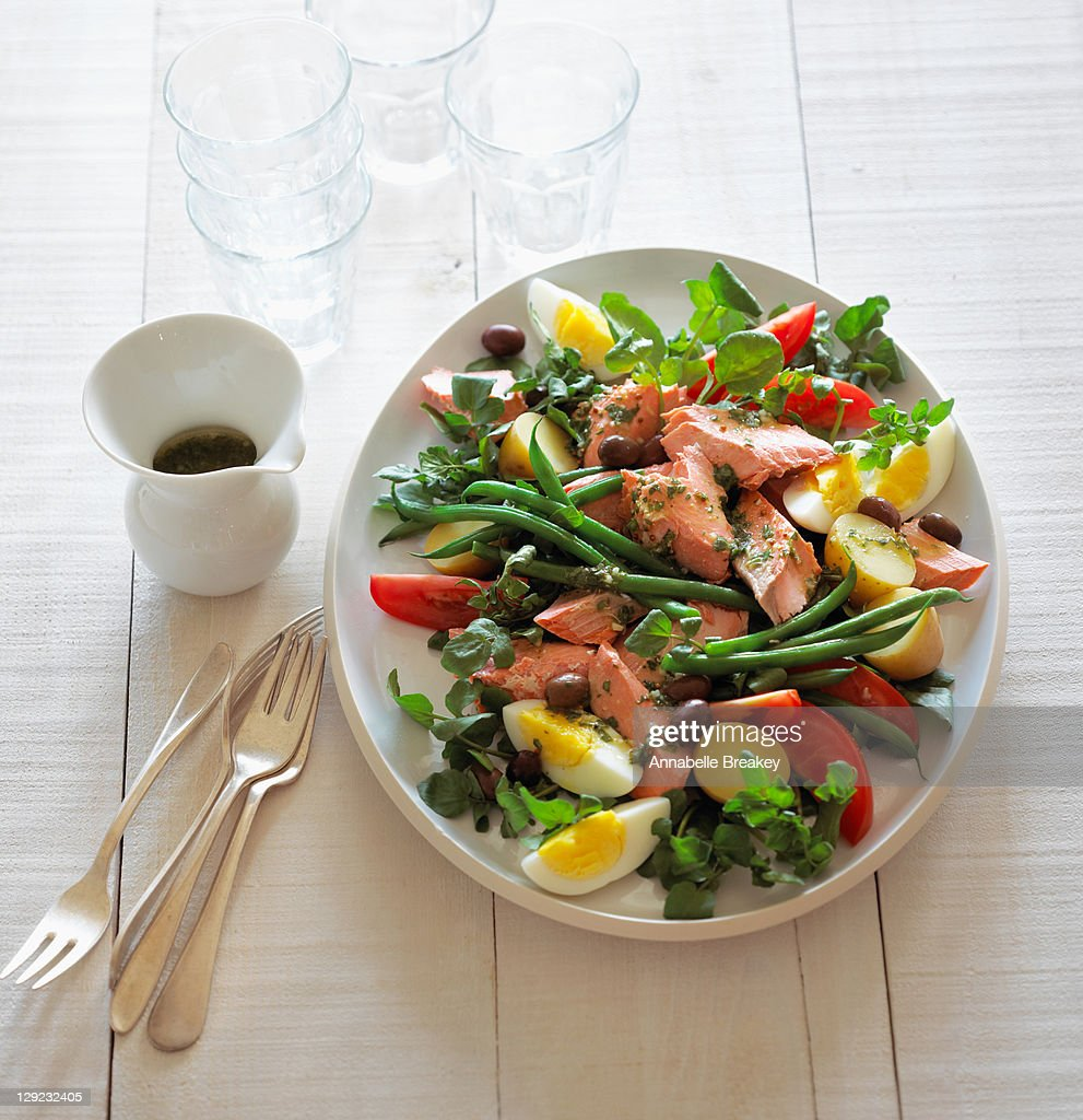 Poached Salmon Nicoise Salad : Stock Photo