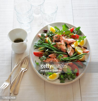 Poached Salmon Nicoise Salad : Stock Photo