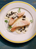 Poached Salmon with Caviar