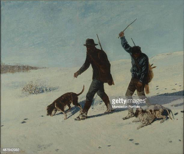Poachers in the Snow by Gustave Courbet 19th Century oil on canvas 102 x 122 cm Italy Lazio Rome National Gallery of Modern and Contemporary ArtGNAM...