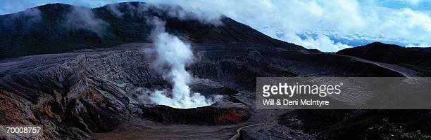 Poas Volcano crater emitting steam, Costa Rica