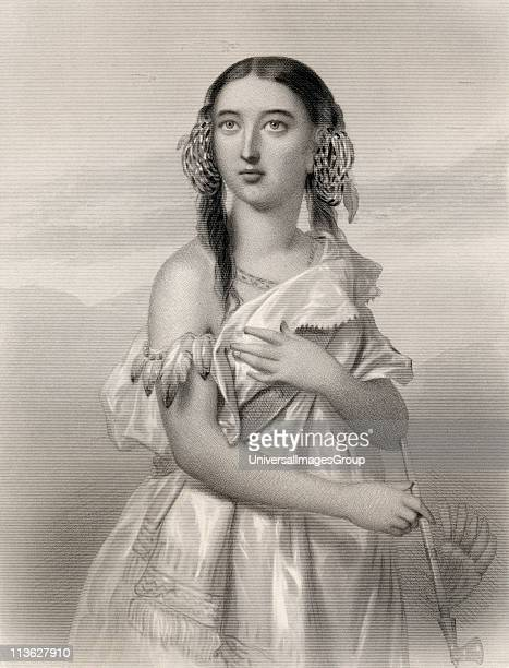 Pocahontas 15951617 Algonqiuan Indian princess Engraved by B Eyles after G Staal From the book 'World Noted Women' by Mary Cowden Clarke published...