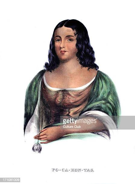 Pocahontas daughter of Chief Powhatan intervened to prevent the execution of Captain John Smith Portrait copied by Robert Matthew Sully c1830 from a...