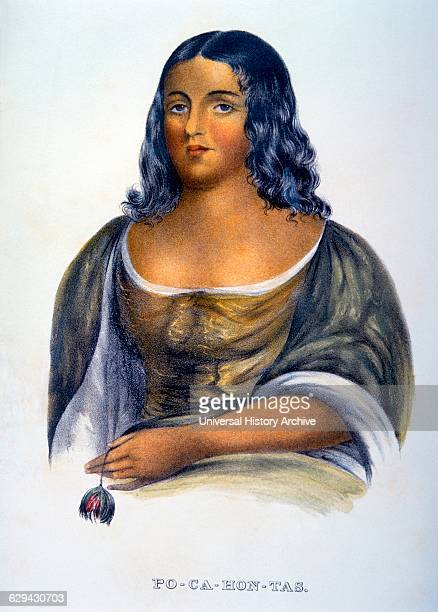 Pocahontas Inspired from Painting by R M Sully Hand Colored Lithograph circa 1844
