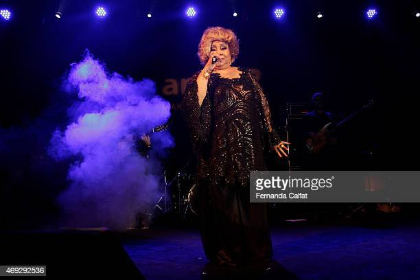 Pocket Show of Alcione attends the 5th Annual amfAR Inspiration Gala at the home of Dinho Diniz on April 10 2015 in Sao Paulo Brazil