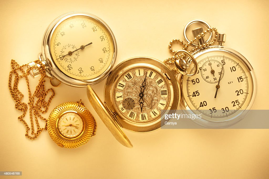 Pocket vintage watch and stopwatch : Stock Photo