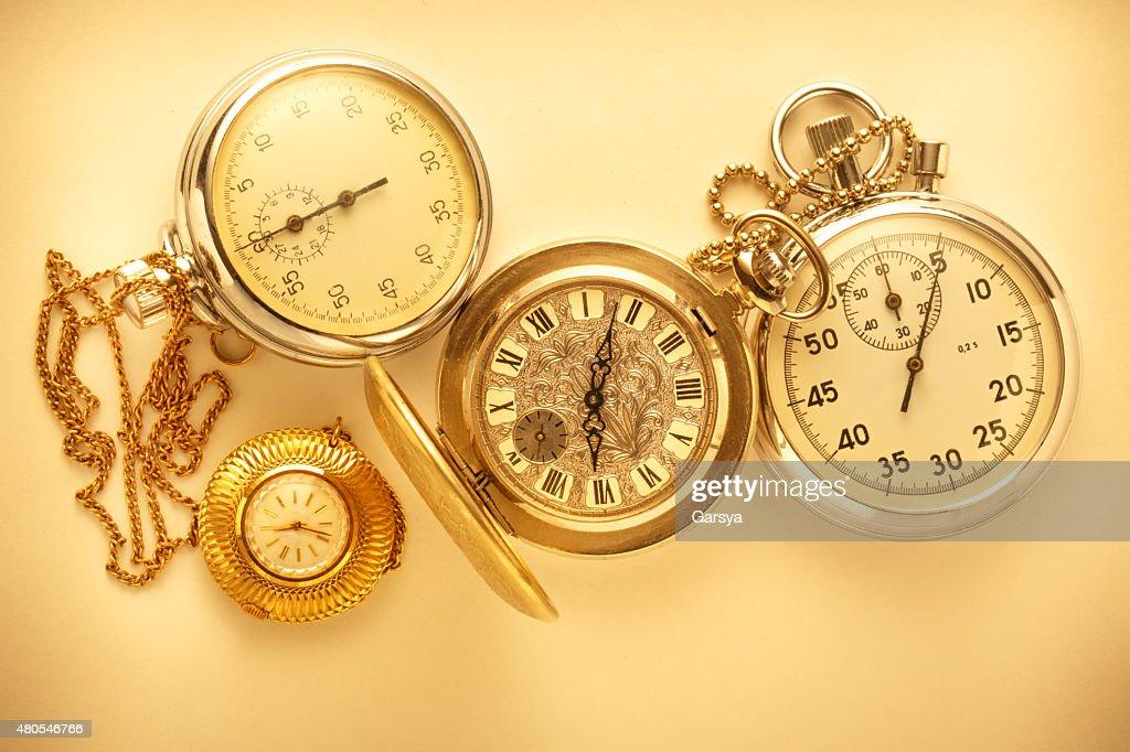 Tasche vintage Uhr und Stoppuhr : Stock-Foto