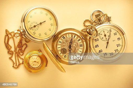 Bolsillo vintage mira y cronómetro : Foto de stock