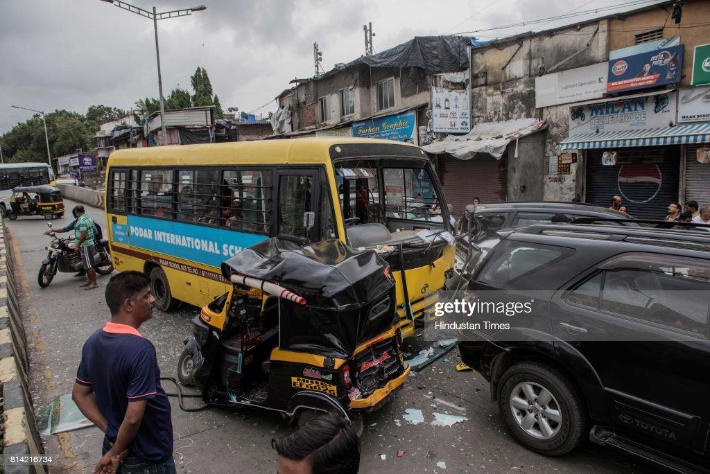 Bus Ferrying School Students Rams Into Suv Autorickshaws No