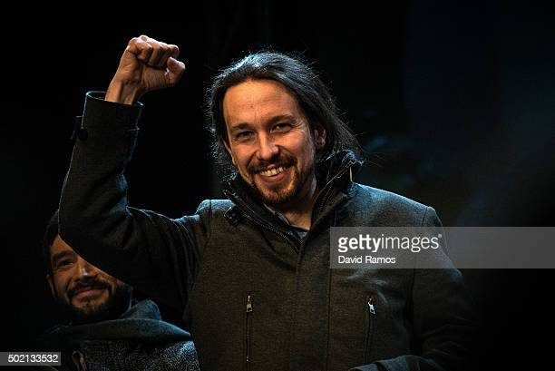 Podemos leader Pablo Iglesias acknowledge his supporters on December 21 2015 in Madrid Spain Spaniards went to the polls today to vote for 350...