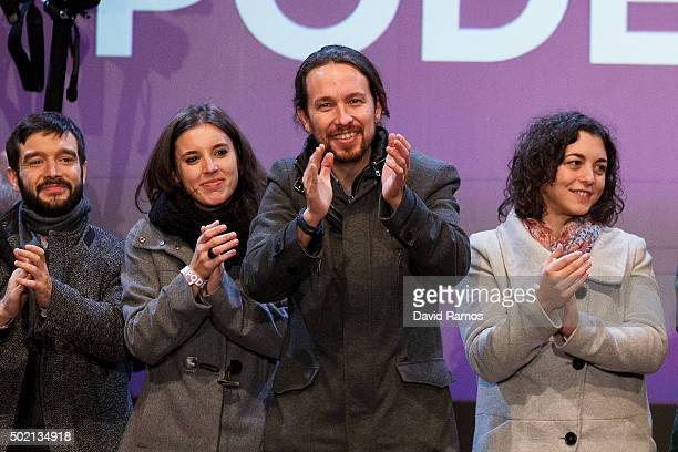 Podemos leader Pablo Iglesias acknowledges his supporters after learning the final general elections results at Hotel Eurobuilding on December 20...