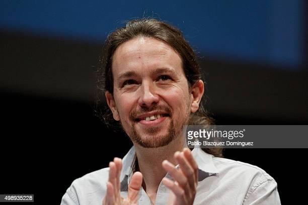 Podemos leader Pablo Iglesias applauses during a debate at Carlos III University of Madrid on November 27 2015 in Leganes Madrid province Spain...