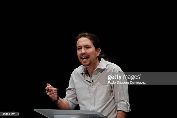 Podemos leader Pablo Iglesias speaks during a debate at Carlos III University of Madrid on November 27 2015 in Leganes Madrid province Spain...