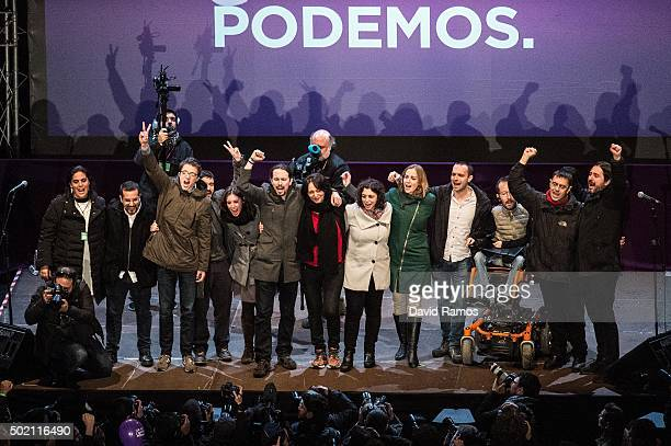 Podemos leaders acknowledge their supporters on December 20 2015 in Madrid Spain Spaniards went to the polls today to vote for 350 members of the...