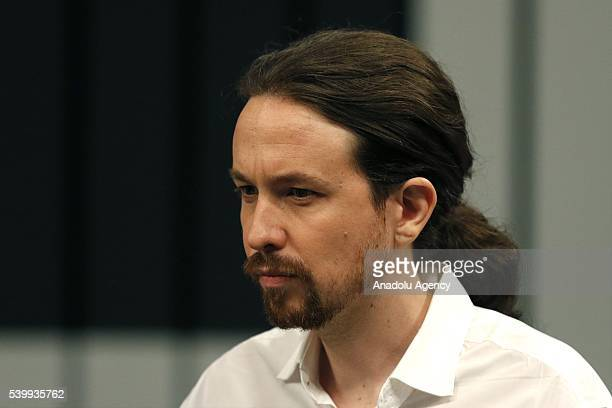 Podemos party leader Pablo Iglesias attends a debate among the four candidates held at the Congress Palace of Madrid Spain 13 June 2016 Spain will...