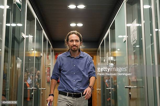 Podemos party leader Pablo Iglesias leaves a press conference after his meeting with Spanish Prime Minister Mariano Rajoy at Moncloa Palace on...