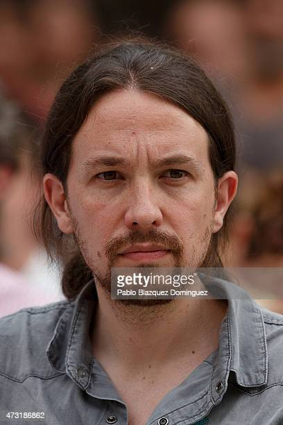 Podemos party leader Pablo Iglesias looks on during an election campaign rally at the Cornisa Park on May 13 2015 in Madrid Spain The rally was...
