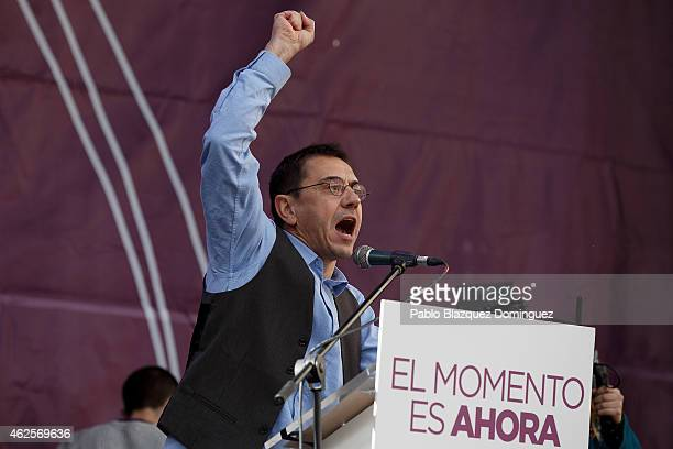 Podemos party member Juan Carlos Monedero speaks on stage at the end of a march on January 31 2015 in Madrid Spain According to the last opinion...