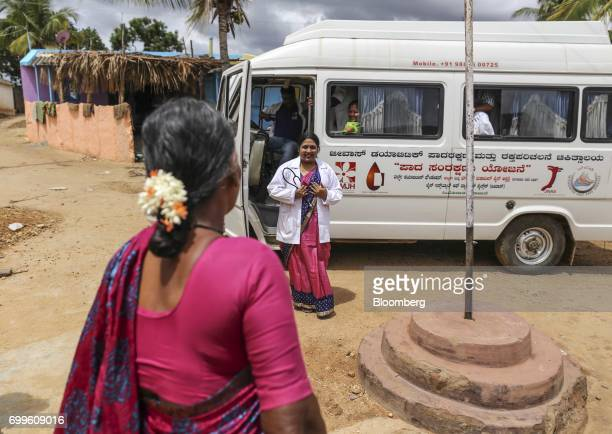 Podiatrist Vinaya AS second from left arrives with a team of medical staff from the Jain Institute of Vascular Sciences at Pancharala on the...