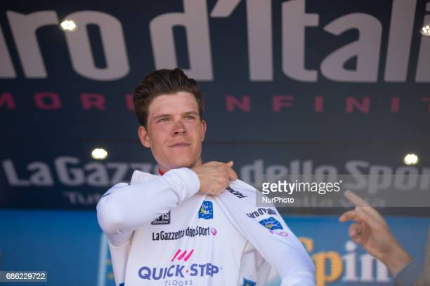 Podium Bob Jungels White Young Jersey during the 14th stage of the 100th Giro d'Italia Tour of Italy cycling race from Castellania to Oropa on May 20...