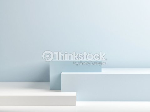 Podium in abstract blue minimalism composition : Stock Photo