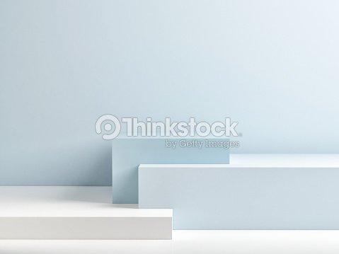 抽象的な青いミニマリズムの作文表彰台 : ストックフォト