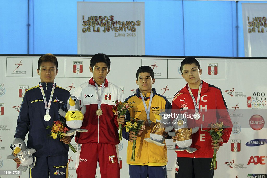 Podium of Greco Roman 50kg as part of the I ODESUR South American Youth Games at Polideportivo Villa Deportiva del Callao on September 26, 2013 in Lima, Peru.