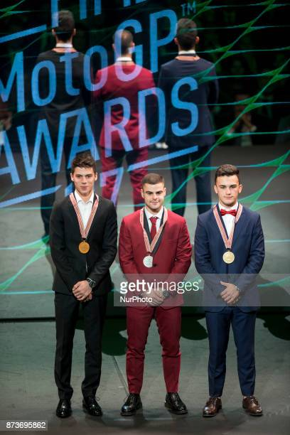 Podium of Moto3 Joan Mir Romano Fenati and Aron Canet during the FIM Awards Ceremony after the Gran Premio Motul de la Comunitat Valenciana in...