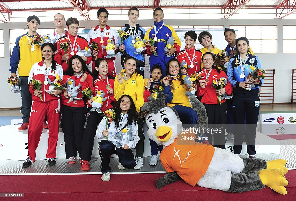 Podium of the Fencing Mixed Team Event as part of the I ODESUR South American Youth Games at Gimnasio Villa Deportiva del Callao on September 24, 2013 in Lima, Peru.