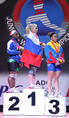 Podium of the Women's 58kg during day three of the 2013 Junior Weightlifting World Championship at Maria Angola Convention Center on May 06 2013 in...
