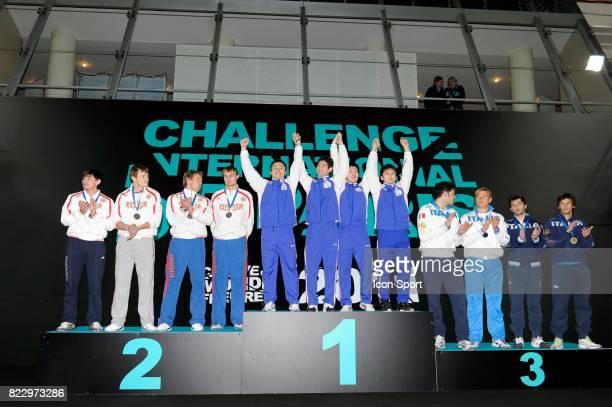 Podium recompense Match de Classement Fleuret Equipe Challenge International de Paris 2011 Coupe du Monde