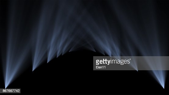 Podium, road, pedestal, stage or platform illuminated by scenic lights spotlights from the bottom vertical 3D illumination on black background. : Stock Photo