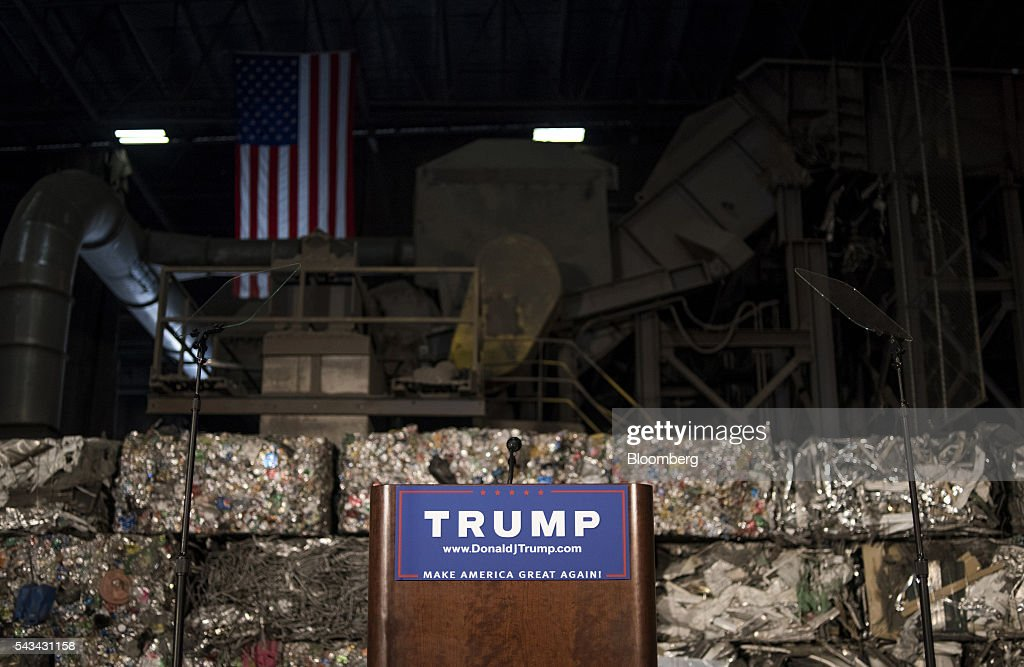 A podium sits empty in front of scrap metal during a campaign event with Donald Trump, presumptive Republican presidential nominee, not pictured, in Monessen, Pennsylvania, U.S., on Tuesday, June 28, 2016. President Barack Obama said Trump is a lifetime member of the 'global elite' who is trying to stir up in the U.S. the kind of anti-immigrant sentiment that drove Britain to vote itself out of the European Union. Photographer: Ty Wright/Bloomberg via Getty Images