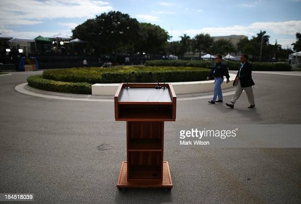 A podium stands in front of the debate hall at a day ahead of the final presidential debate at Lynn University October 21 2012 in Boca Raton Florida...