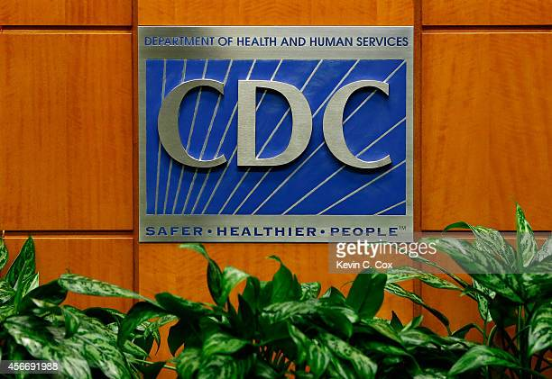 A podium with the logo for the Centers for Disease Control and Prevention at the Tom Harkin Global Communications Center on October 5 2014 in Atlanta...