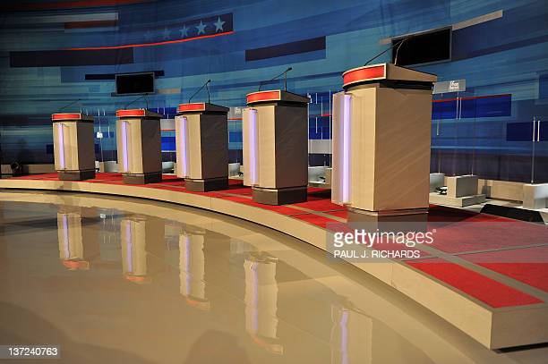 Podiums stand empty prior to the start of a South Carolina Republican presidential debate in Myrtle Beach South Carolina January 16 2012 South...